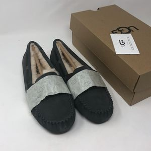 Ugg Dakota Bow Leather Slipper Charcoal 8